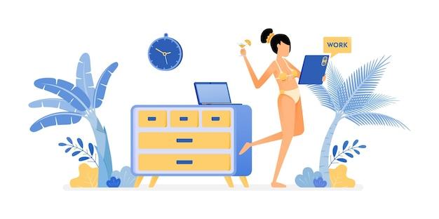 Illustration de femmes indépendantes en maillot de bain sexy sont toujours cool de travailler à la maison