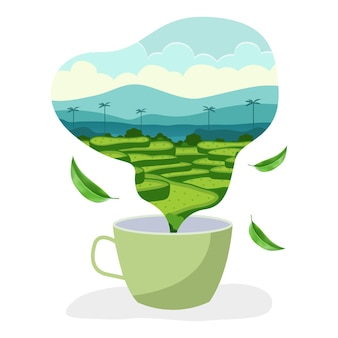 Illustration de la ferme en forme de fumée provenant d'une tasse de thé