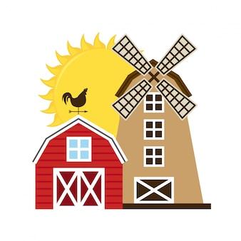 Illustration d'une ferme avec moulin