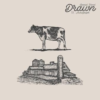 Illustration de ferme vintage
