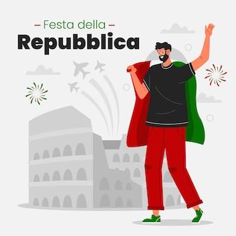 Illustration de festa della repubblica plat bio