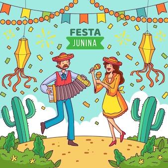 Illustration de festa junina dessinée à la main