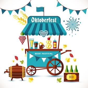 Illustration de festival de bière de tente avec des marchandises.