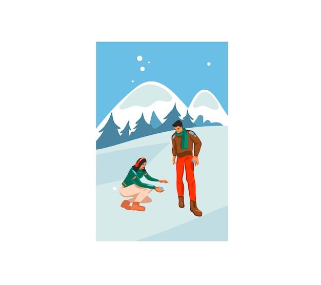 Illustration festive de dessin animé dessiné à la main du couple de noël jouant ensemble en plein air isolé sur paysage