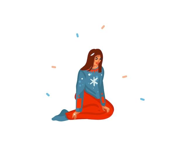 Illustration festive de dessin animé dessiné à la main de fille assise et préparant pour noël isolé
