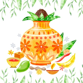 Illustration de fête aquarelle ugadi