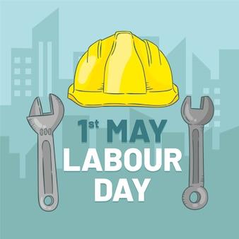 Illustration de la fête du travail avec un casque de sécurité