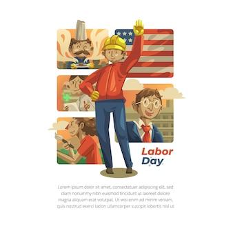 Illustration de la fête du travail dessinée à la main