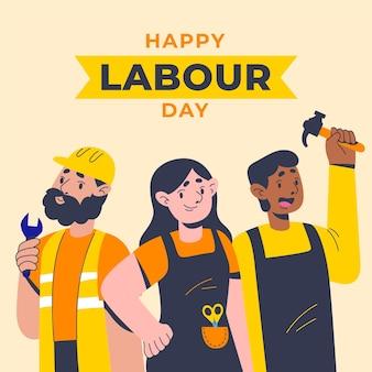 Illustration de la fête du travail plat organique