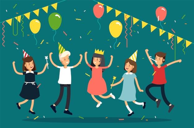 Illustration de la fête des enfants. personnage drôle d'enfants sautant avec des chapeaux de fête, des confettis, des ballons. fête des amis.