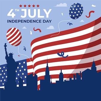 Illustration de la fête de l'indépendance du 4 juillet plat organique