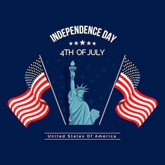 Illustration de la fête de l'indépendance du 4 juillet plat