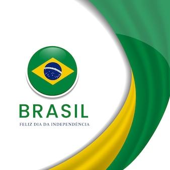 Illustration de la fête de l'indépendance du brésil avec la conception du drapeau artistique