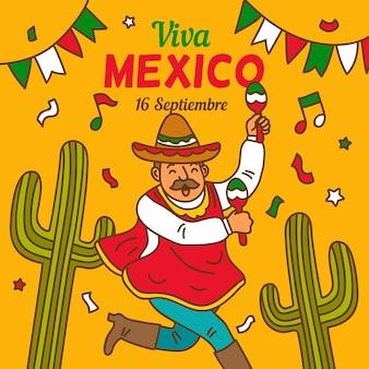 Illustration de la fête de l'indépendance du mexique