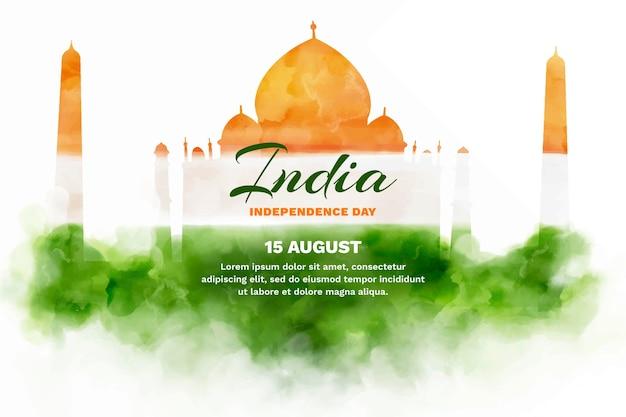 Illustration de la fête de l'indépendance de l'inde aquarelle peinte à la main