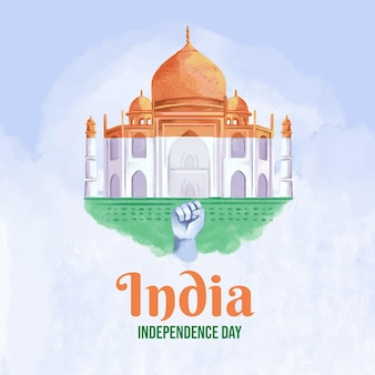 Illustration de la fête de l'indépendance de l'inde à l'aquarelle peinte à la main