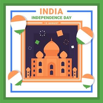 Illustration de la fête de l'indépendance de l'inde plate