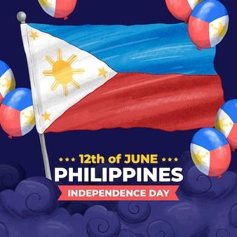 Illustration de la fête de l'indépendance philippine dessinée à la main