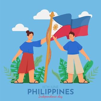 Illustration de la fête de l'indépendance des philippines dessinée à la main