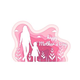 Illustration de la fête des mères dans un style papier
