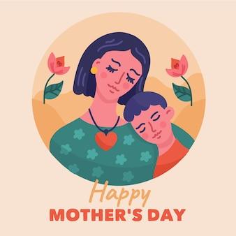 Illustration de fête des mères dessinée à la main avec maman et fils