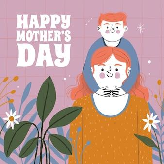 Illustration de la fête des mères dessinée à la main