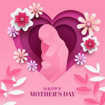 Illustration de la fête des mères heureuse dans le style de papier