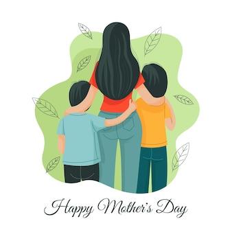 Illustration de la fête des mères heureuse dessinée à la main