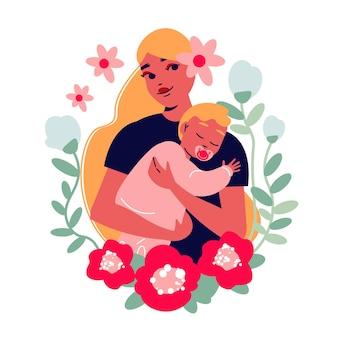 Illustration de la fête des mères avec une jolie maman avec bébé entouré de feuilles et de fleurs