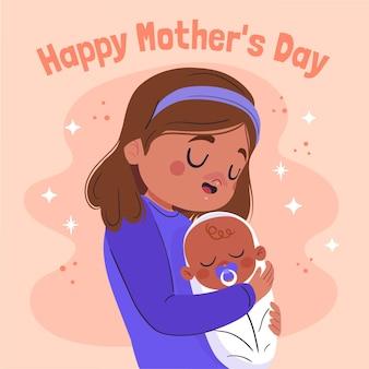 Illustration de la fête des mères plat bio