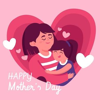 Illustration de la fête des mères plat heureux