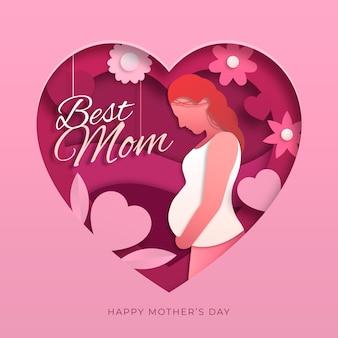 Illustration de la fête des mères de style papier