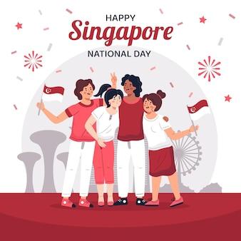 Illustration de la fête nationale de singapour dessinés à la main