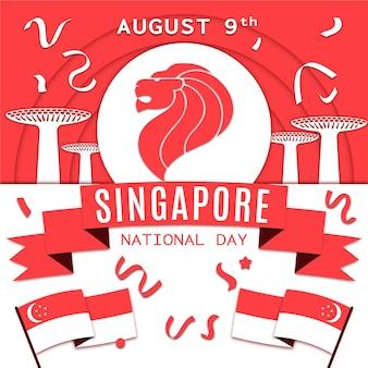 Illustration de la fête nationale de singapour de style papier