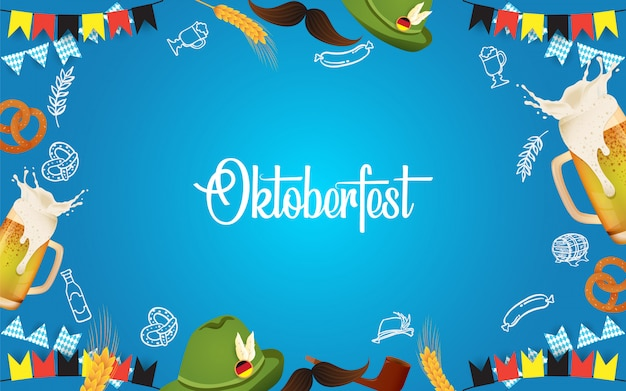 Illustration de la fête oktoberfest avec bière fraîche