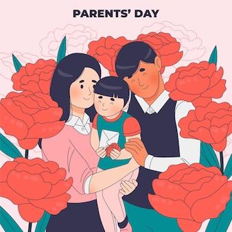 Illustration De La Fête Des Parents Coréens Dessinés à La Main Vecteur Premium