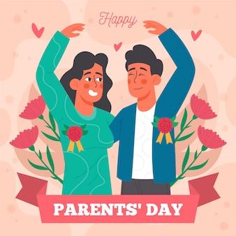 Illustration de la fête des parents coréens plats bio