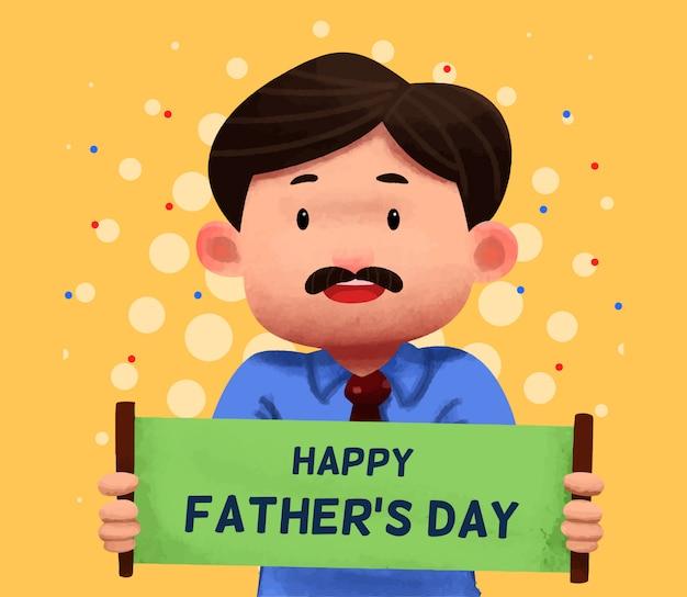Illustration de fête des pères aquarelle