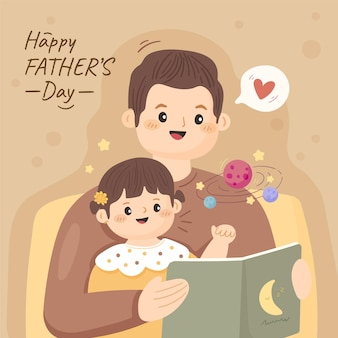 Illustration de la fête des pères dessinée à la main