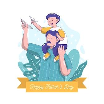 Illustration de la fête des pères dessinée