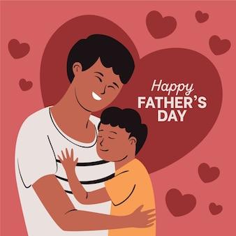 Illustration de fête des pères dessinés à la main avec le père étreignant le fils
