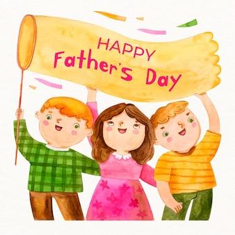 Illustration de la fête des pères heureux à l'aquarelle