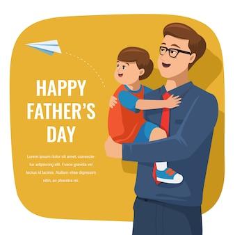 Illustration de fête des pères heureux plat