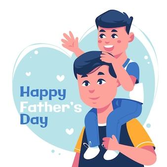 Illustration de la fête des pères heureux plat