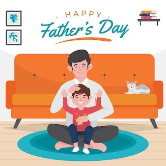 Illustration de la fête des pères plat organique