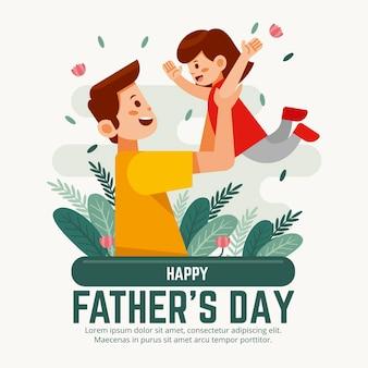 Illustration De La Fête Des Pères Plate Vecteur gratuit