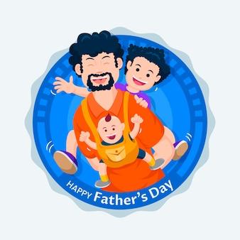 Illustration de la fête des pères plate
