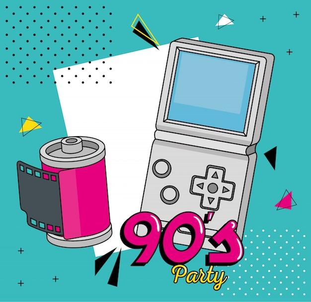 Illustration de fête avec poignée de jeu vidéo et appareil photo roll