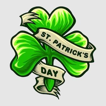 Illustration de la fête de la saint-patrick avec logo clover leaf