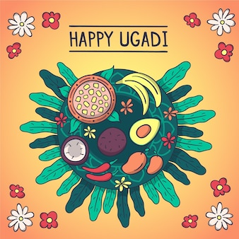 Illustration de fête ugadi dessiné à la main